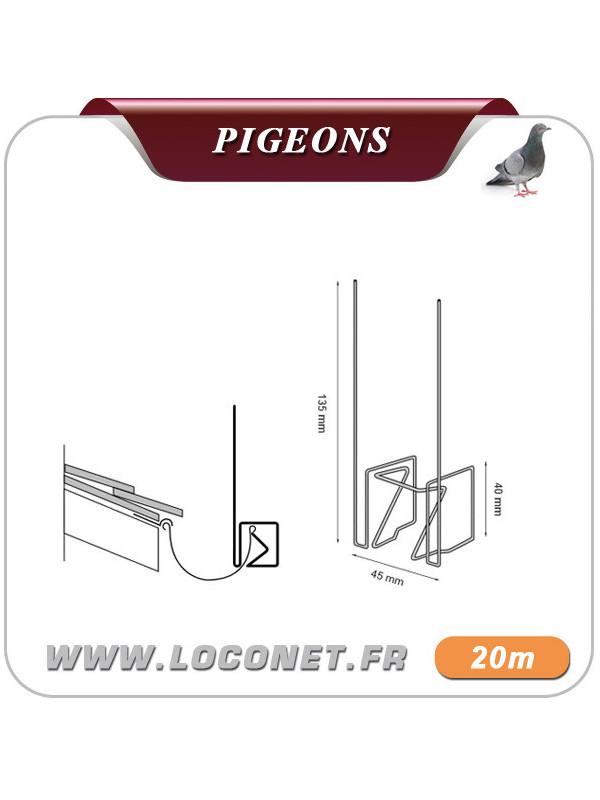 Pics anti pigeons Spécial Gouttieres - ULTRA CLIPS - 20 mètres