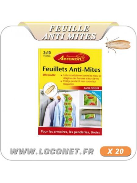 FEUILLET ANTI MITES DES VETEMENTS - lot de 20 - AEROXON