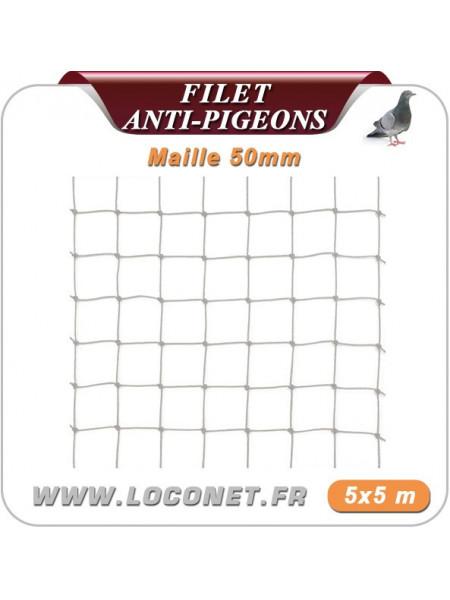 Filet anti pigeons - Coloris pierre - 5 X 5 mètres - Maille 50 x 50mm