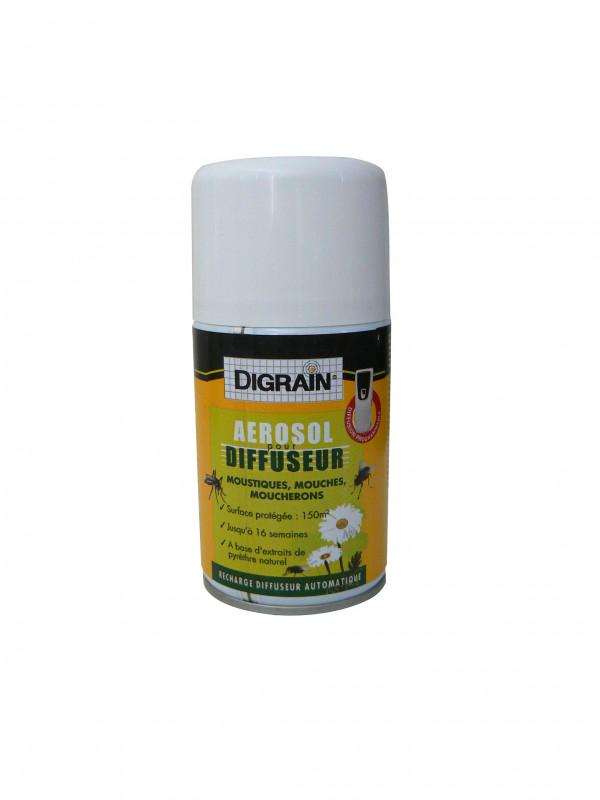 Pack aérosol diffuseur insecticide contre mouches et moustiques DIGRAIN