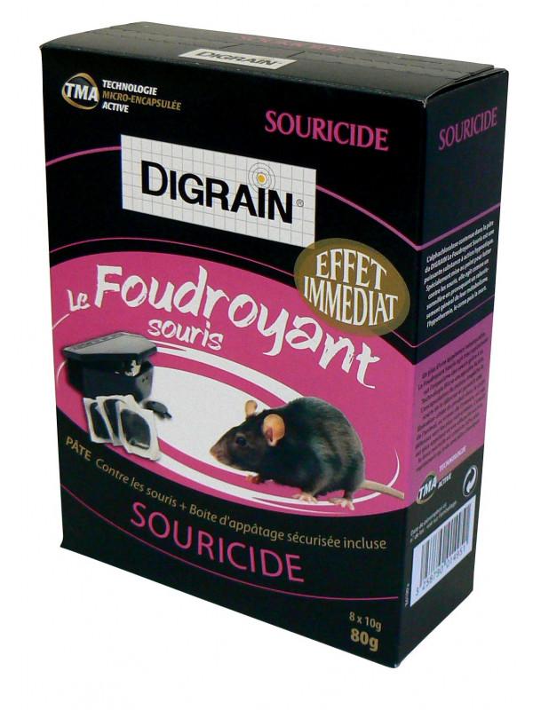Le Foudroyant Souris - Souricide pâte à effet immédiat + boite d'appâtage DIGRAIN - 8 x 10g