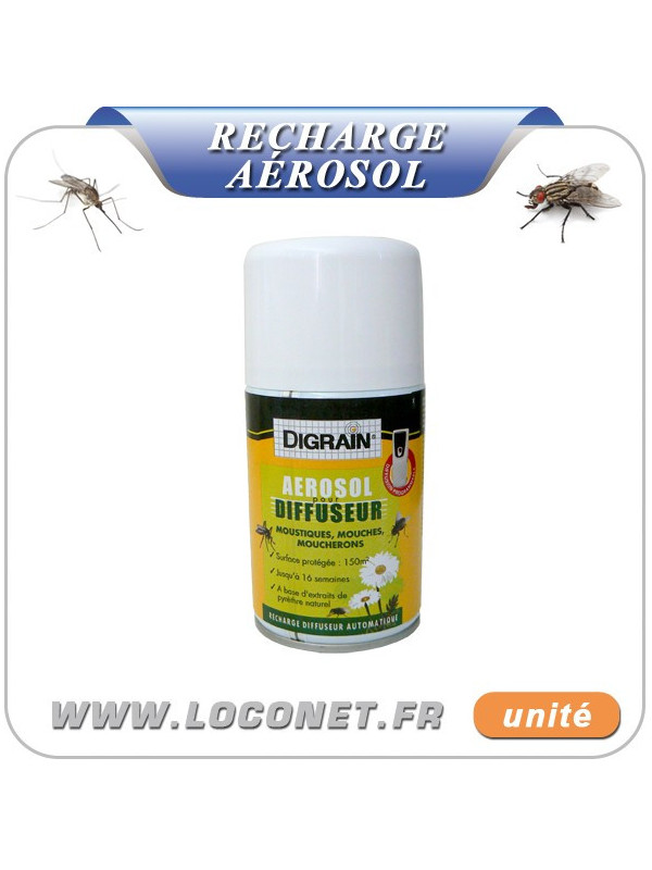 Recharge aérosol diffuseur insecticide contre mouches et moustiques DIGRAIN - 250ml