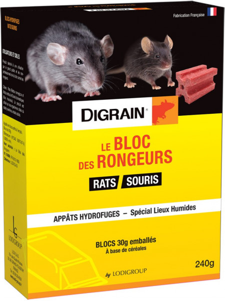 Le Bloc des Rongeurs 240 grs - Raticide Souricide spécial lieux humides - Blocs hydrofuges - DIGRAIN