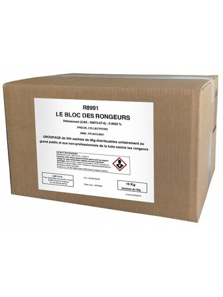 BLOC DIFÉNACOUM 25ppm Spécial Collectivités et mairie Carton de 10 kg